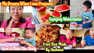My Dreams When I was Pregnant / Fried Rice By Husband / Enjoying Watermelon / NepaliMom Vlogs
