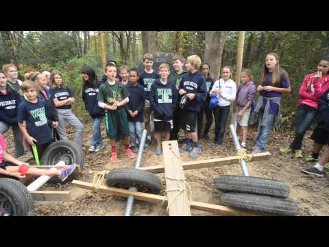 Weddington Middle School 6th grade on the Outdoor Adventure Trail at Xtreeme Challenge