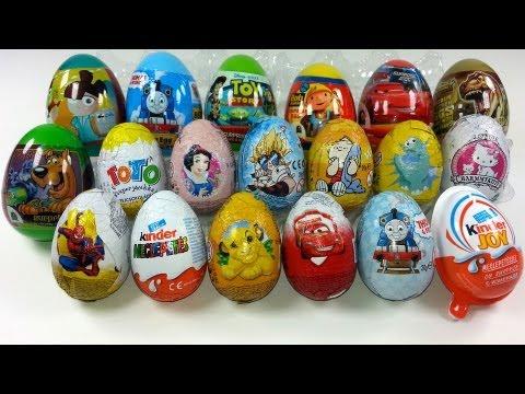 19 Surprise Eggs Unboxing, Zaini Eggs, Kinder Surprise, Cars 2, Thomas, Toy Story...