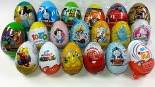 19 Surprise Eggs Unboxing, Zaini Eggs, Kinder Surprise, Cars 2, Thomas, Toy Story...