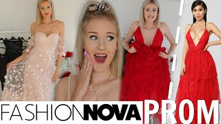 TRYING ON  VERY EXTRA FASHION NOVA PROM DRESSES.