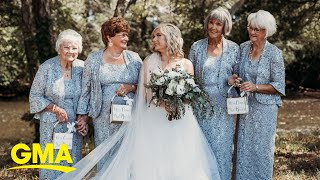 This bride had 4 grandmothers in wedding party l GMA Digital