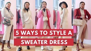How to Style a SWEATER DRESS 5 Ways | Sweater Dress Lookbook | Sweater Dress Outfits