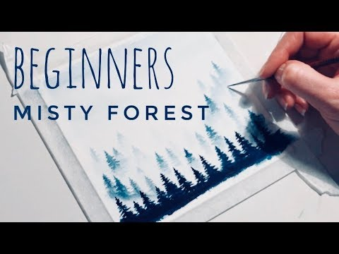 Step By Step Misty Forest Trees Tutorial For Beginners