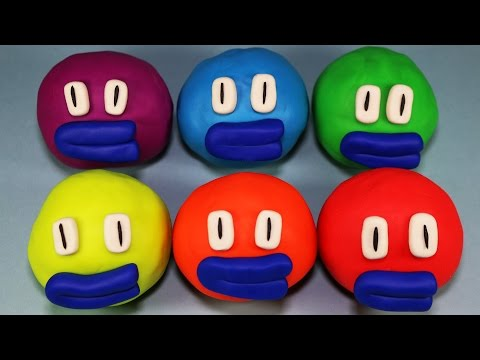 Learn Colours and Shapes with Playdough Smiley Face Surprise Eggs