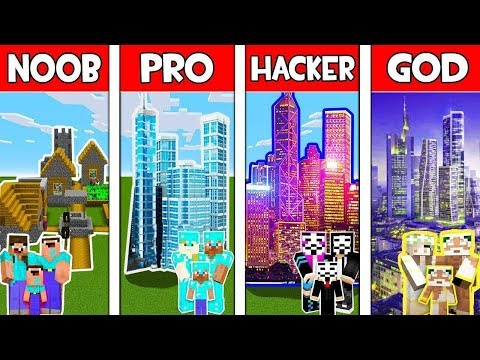Minecraft - NOOB vs PRO vs HACKER vs GOD : FAMILY CITY in Minecraft Animation