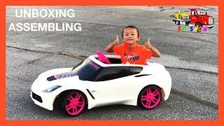 Unboxing Assembling The Power Wheels Corvette 6V Battery Powered  Ride On For Kids