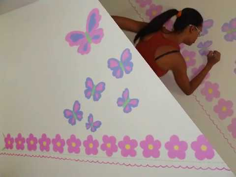 Murales creativos heidy guerrero mural de mariposas y for Decoracion para pared de recamara