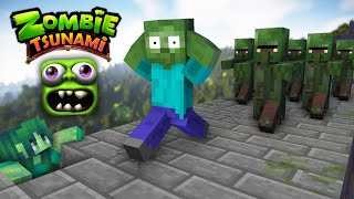 Monster School : ZOMBIE TSUNAMI CHALLENGE - Minecraft Animation