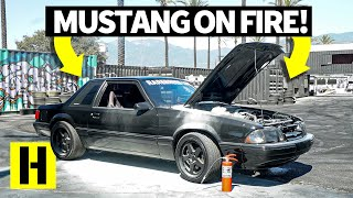 Ex-Police Car Ford Mustang Fox Body Throws Flames and Almost Burns Down