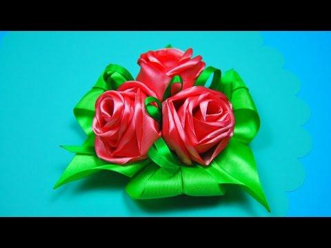 Роза канзаши из атласной ленты своими руками мастер класс