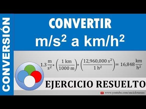 CONVERTIR DE M/s² A Km/h²