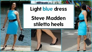Crossdresser - light blue dress and black stiletto high heels | NatCrys