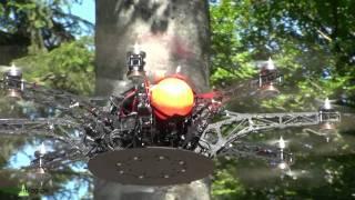 Bayer. Wald: UAV (Copter) startet mit 16 Rotoren- HighTech in Bavarian Forest