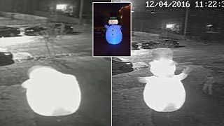 Security Footage Catches Frosty The Snowman Getting Assaulted By Real-Life Grinch