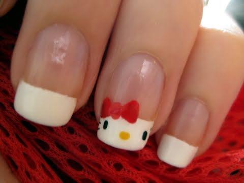 Hello Kitty French Nails - Hello Kitty körmök készítése