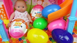 Baby Doll Slide Surprise eggs and Kinder joy toys