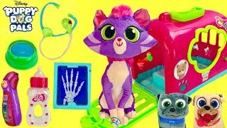 Puppy Dog Pals Hissy Cat Visits Vet in Crate with Rolly Bingo & Keia