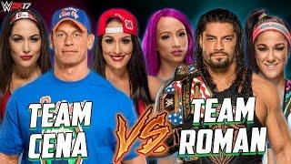 John Cena & Brie Bella & Nikki Bella vs Roman Reigns & Sasha Banks & Bayley - Smackdown Live 2017