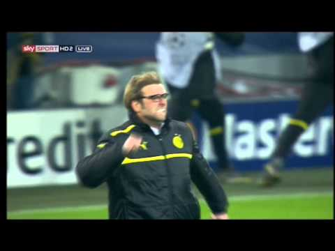 Borussia Dortmund 3-2 Malaga | Jurgen Klopp celebration after wining goal