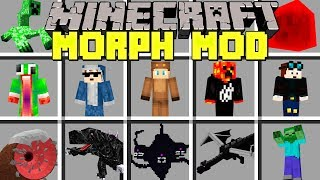 Minecraft MORPH MOD / SHAPE SHIFT INTO ANY BOSS, YOUTUBER AND MOB! / Modded Mini-Game