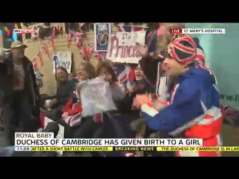 Crowds celebrate as it\'s announced the Duchess of Cambridge has given birth to a baby girl this morning.