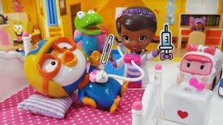 아픈 뽀로로 돌보기 병문안 온 친구들 디즈니 주니어 닥터 맥스터핀스 병원놀이 장난감