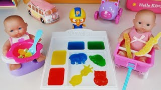Baby doll and jelly Gummy candy Goodies Maker and refrigerator toys play 미니 동물 젤리 만들기 아기인형 뽀로로 장난감놀이
