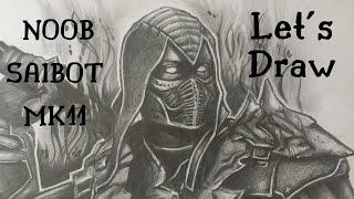 Let's Draw NOOB SAIBOT - MORTAL KOMBAT 11