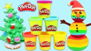 How to Make a Play Doh Rainbow Snowman | Fun & Easy DIY Art!