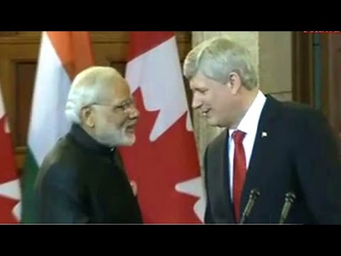 PM Modi with Canadian counterpart Stephen Harper issue joint statement