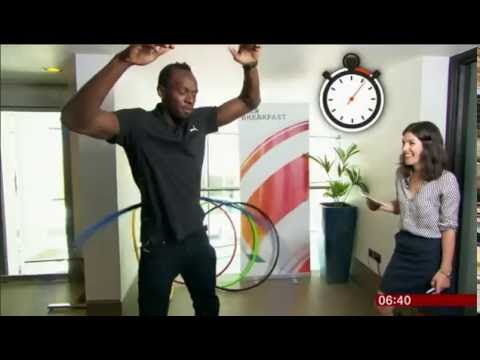 Usain Bolt prepares for the 2016 Rio Olympics with a Hula Hoop