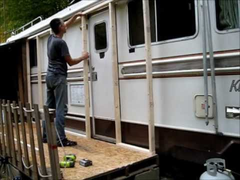 Framing my rv passive solar heating porch part 1 youtube for Portico anteriore a trave aperta