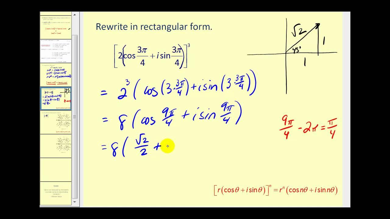 De Moivre S Theorem Youtube