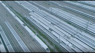 Aerial view of largest high-speed train maintenance base in central China