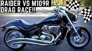 Yamaha Raider vs Suzuki M109R Boulevard 1900 vs 1800 V-Twin MONSTER Muscle Bikes! Drag Race!