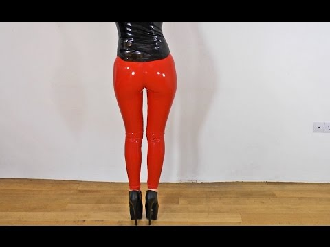 Sexy Latex Liquid Leggings Red Slinky Dance video
