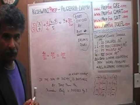 Algebra Help Day 90 - Math Tutor - GRE, GMAT, SAT Prep - Online via Skype KeshwaniPrep.com