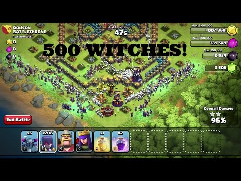 Clash of Clans: 500 Witches VS. Godson Gameplay! Best Attack Raid (Winter Update 2014)