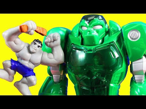 Marvel Super Hero Squad Wolverine And Grey Hulk Toys & Hulk Robot Rescues Imaginext Police Station