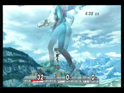 Brawl Hacks - Giant Growing Zero Suit Samus v.s. Link and Ike