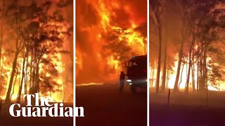 NSW bushfires: the terrifying moment a crowning fire explodes outside Sydney