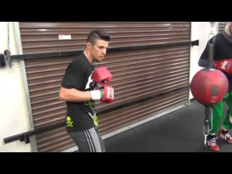 Rocco Santomauro takes his frustrations out on the double end bag
