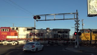 BNSF 750 Leads UP Power Move Of Super Fruit Train North, 14th Ave. Railroad Crossing, Sacramento CA