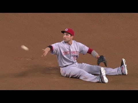 CIN@LAD: Votto snags sharp grounder at first for out