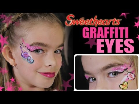 Sweethearts Candy Valentine Makeup Tutorial - Face Painting Graffiti Eyes