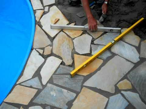 Polygonalplatten youtube for Stahlwand rundpool aufbau