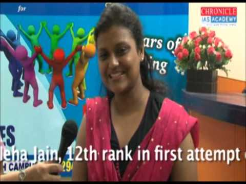 Chronicle IAS Academy : An Interview of Ms. Neha Jain 12th rank...