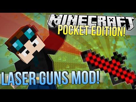 Minecraft Pocket Edition   LASER GUNS MOD   Mod Showcase