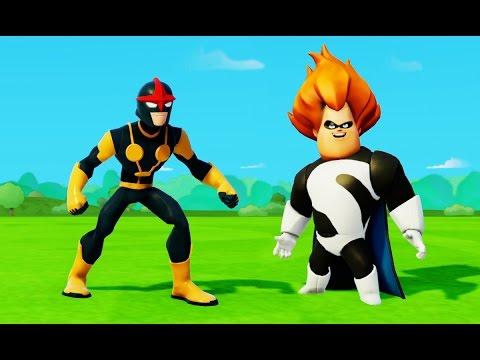 Мультик игра для детей про супергероя Нова и Синдрома из Суперсемейка и Машинки Тачки Дисней Disney